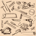 Joinery icons set carpenter character at work woodworking tools of antique craft woodwork screwdriver table hammer Stock Image
