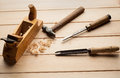 Joinery tools on wood table background with business card and copy space Stock Images