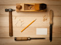 Joinery tools on wood table background with business card and copy space Royalty Free Stock Photo