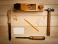 Joinery tools on wood table background with business card and copy space Stock Photography