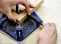 Joining wood corner piece Stock Image