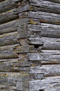 Joints of old log church corner logs joint ancient rough wooden texture Stock Images