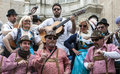 Joke of cadiz men and women are dressed singing picture taken at carnival Stock Photos