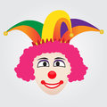Joker face with jester hat funny colorful Stock Photo