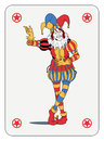 Joker playing card in colorful costume Stock Image