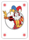 Joker playing card coming out of circle Royalty Free Stock Photography