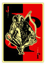 Joker playing card with pierced by the needle vector graphic Stock Image