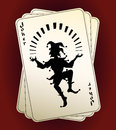 Joker silhouette on playing cards Royalty Free Stock Photo