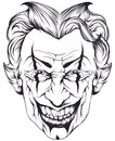 Joker sketch of the head of a on a white background Royalty Free Stock Images