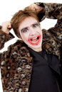Joker young man dressed as isolated on white Royalty Free Stock Images