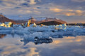 Jokulsarlon lagoon, Beautiful cold landscape picture of icelandic glacier Royalty Free Stock Photo