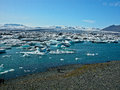 Jokulsarlon lake with floating icebergs Stock Photography