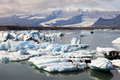 Jokulsarlon lake with iceberg near atlantic sea in iceland Royalty Free Stock Photos
