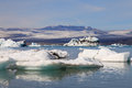 Jokulsarlon lake with iceberg near atlantic sea in iceland Stock Images