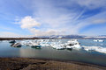 Jokulsarlon lake with iceberg near atlantic sea in iceland Stock Photography