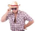 Joli homme avec le chapeau de cowboy Photo libre de droits
