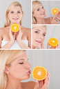 Jolie femelle avec le collage orange de fruit de citron Images stock