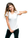 Jolie fille avec le T-shirt blanc Photo stock