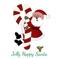 Jolly happy santa hugging a christmas candy cane pattern on brim of hat Stock Images