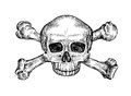 Jolly roger. Hand drawn human skull and crossbones. Sketch vector illustration Royalty Free Stock Photo
