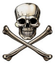 Jolly roger skull and crossbones sign an illustration of a or poison Royalty Free Stock Photo