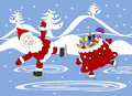 Jolly Santa Claus and bag with gifts celebratory skate Royalty Free Stock Photo