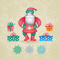 Jolly santa claus with a gifts and snowflakes christmas vector elements winter holidays icons collection ornament for invitations Royalty Free Stock Photos