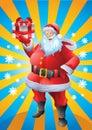 Jolly Santa Claus Holding Chri...