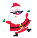 Jolly santa claus wearing sunglasses cartoon illustration of a looking character and balancing on one leg and with both arms up Stock Photos