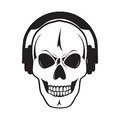 Jolly skull with headphones. Isolated object.? Stock Images