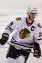Jonathan toews image shows blackhawks captain during the nhl western conference finals pregame warm ups Stock Image
