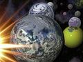 Jord, Moon, Sun och mer planet Royaltyfria Bilder