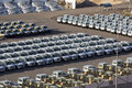 Parking of new cars in the open air-