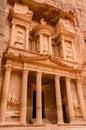 Jordan petra treasury majestic carved into the rocks Royalty Free Stock Photos