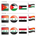 Jordan and Syria, Iraq Flag Icon Royalty Free Stock Photos