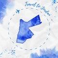 Jordan watercolor map in blue colors.