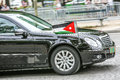 Jordanian Diplomatic car during Military parade (Defile) in Republic Day (Bastille Day). Champs Ely Royalty Free Stock Photo
