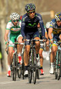 Jose herrada movistar team rides during the tour of catalonia cycling race through the streets of monjuich mountain in barcelona Stock Photos