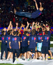Josep Guardiola and FC Barcelona players Royalty Free Stock Images