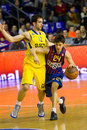 Josep perez of fc barcelona r in action at the euroleague basketball match between and maccabi electra final score on february in Stock Images