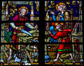 Joseph, Mary and Jesus - Stained Glass in Mechelen Cathedral
