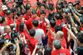 Joseph Schooling, the Singapore's first Olympic gold medalist, on his victory parade around Singapore. August 2016 Royalty Free Stock Photo