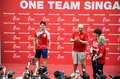 Joseph Schooling, the Singapore's first Olympic gold medalist, on his victory parade around Singapore. 18th August 2016 Royalty Free Stock Photo