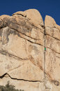 Joshua tree rock climber a climbing man leading double cross climb in national park Stock Photos