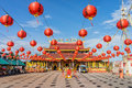 The joss house is decorated for vegetarian festival on Sep 27, 2014 in Takua Pa Royalty Free Stock Photo