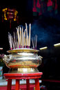 Joss stick and incense furnace at chinese temple Stock Image