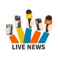 Journalism concept set of hands holding microphones and voice recorders live news template press illustration Royalty Free Stock Photos