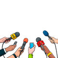 Journalism concept vector illustration in pop art comic style. Set of hands holding microphones and voice recorders. Hot