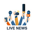 Journalism concept vector set of hands holding microphones and voice recorders live news template press illustration Royalty Free Stock Images