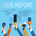 Journalism concept vector set of hands holding microphones and voice recorders live news template press illustration Royalty Free Stock Photo